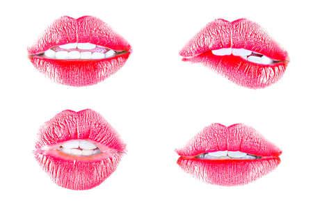 labios sensuales: Hermosos labios rojos aislados en blanco