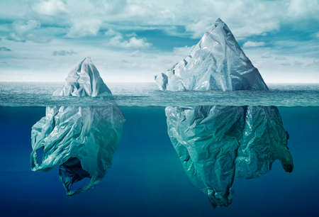 plastic bag environment pollution with iceberg of trash Stockfoto