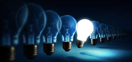 Lightbulbs on blue background, idea concept 版權商用圖片