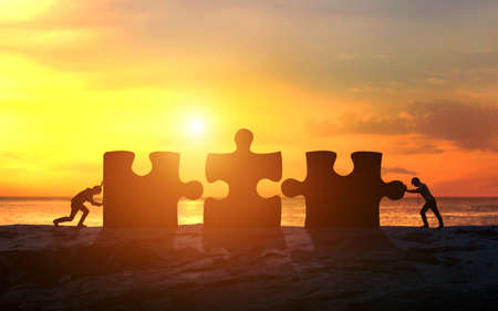 Business concept of teamwork with jigsaw puzzle. Business success Stock fotó