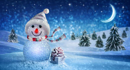 Happy New Year with Snowman and Christmas 版權商用圖片