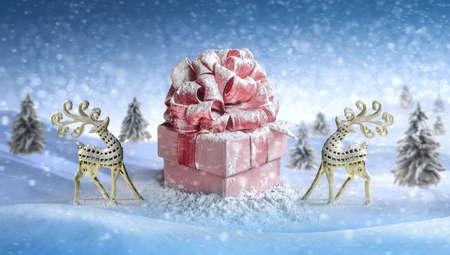 Christmas deer. gift box for Christmas, New Years Day 版權商用圖片