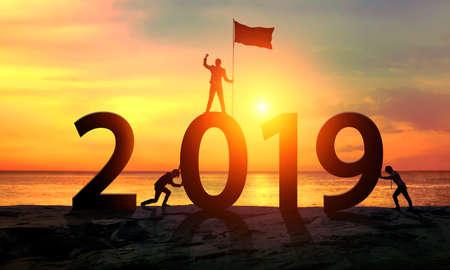 Businessman. Happy 2019 new year. Concept Silhouette Zdjęcie Seryjne