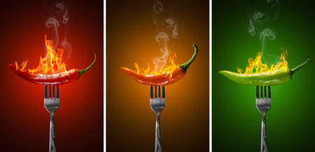 Set of Red Yellow Green Hot Chili Pepper Isolated