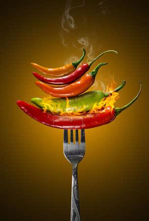 Different kind of pepper on a fork Imagens