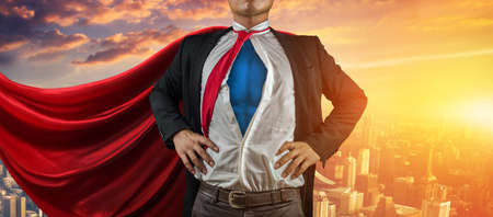 Businessman superhero. Mixed media