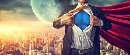 Businessman superhero. Mixed media