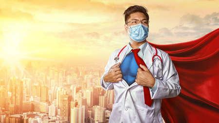 Doctor wearing medical mask . Super hero power for medicine. Corona Virus Covid 19