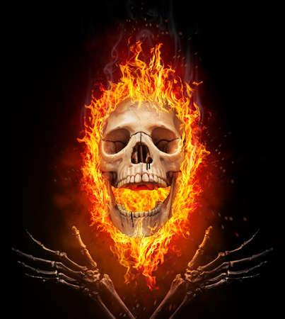 Skull burned in fire. Concept of Halloween