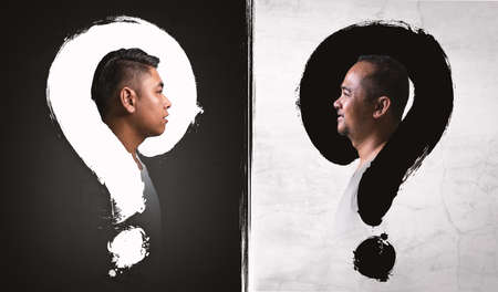 Asian man thinking with question mark in isolated background balck and white
