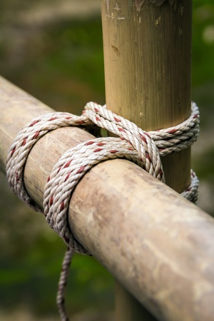 lashing: Scouts have tied together with a square lashing Stock Photo