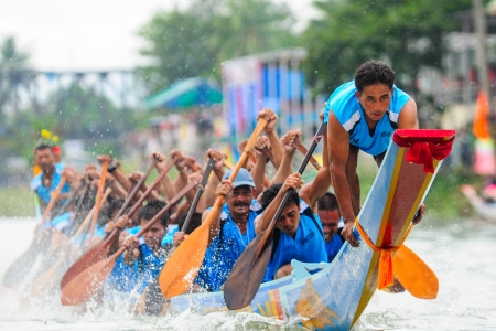 bow of boat: Chumphon, Langsuan, Thailand,  31 October ? 4 November 2012:Langsuan Traditional Long Boat racing festival is the only one of its type in Thailand (unseen Thailand) with grabbing the flag compete for the Royal Plaque and Trophies of H.M. the King and the