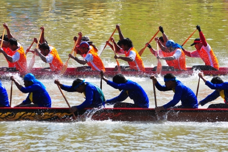 Chumphon, Langsuan, Thailand,  31 October ? 4 November 2012:Langsuan Traditional Long Boat racing festival is the only one of its type in Thailand (unseen Thailand) with grabbing the flag compete for the Royal Plaque and Trophies of H.M. the King and the