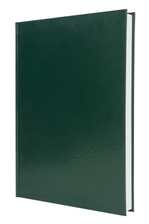 blank green hardback book cover isolated on white