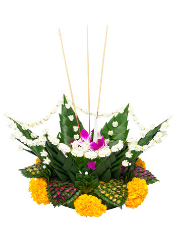 Krathong on white , Thailand