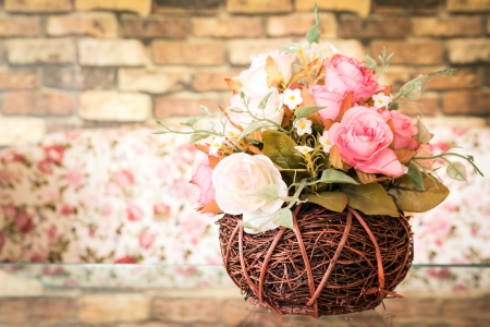 vintage rose: still life with beautiful artificial roses