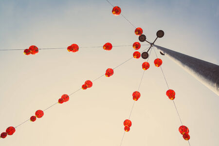 Chinese lanterns with retro filter effect photo