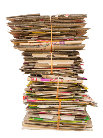 pile of old cardboard boxes for recycling on white background Banque d'images