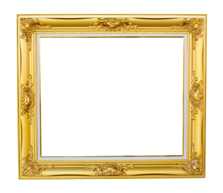 Gold louise photo frame over white background photo