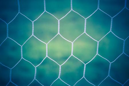 goal line: Soccer goal net vintage background Stock Photo