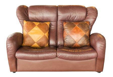 luxurious sofa: vintage Leather luxurious sofa isolated on white background Stock Photo