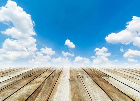 wood floor: wood floor with cloud and blue sky