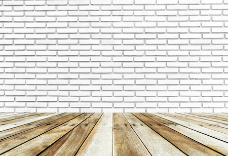 white wood floor: white brick wall and wood floor background Stock Photo