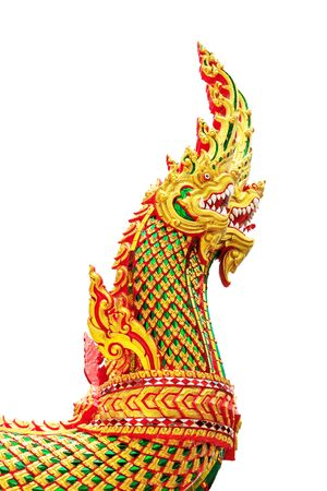 naga china: Thai dragon or king of Naga statue on white