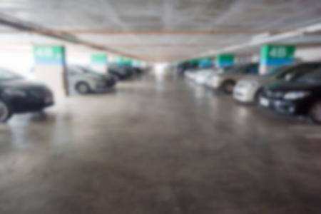 carpark: blur parking car indoor for background