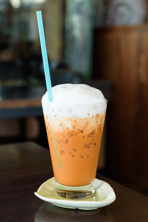 Milk ice tea in glass