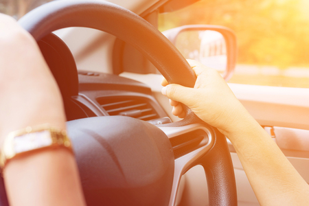 color tone: Female driving car and color tone effect