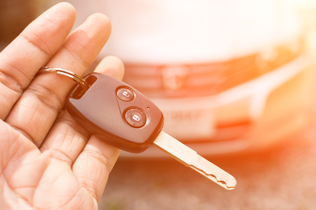 color tone: Car key in hand and color tone effect