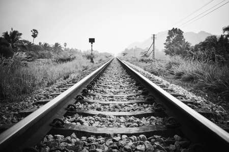 black and white railroad tracks: vintage railroad with black and white effect