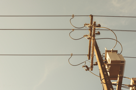 power cables: electric wire Stock Photo