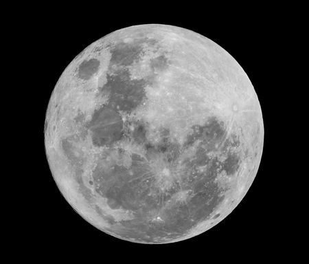 Super full moon on black background Stock Photo