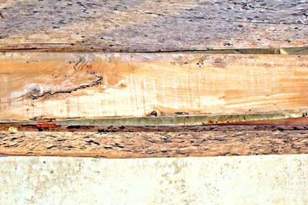 Drie houten planken met concrete achtergrond. Stockfoto