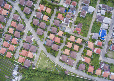 cenital: Vista aérea del pueblo Foto de archivo