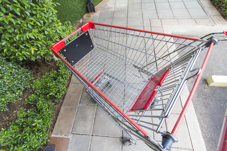 emty: Emty Cart Outside the Store Stock Photo