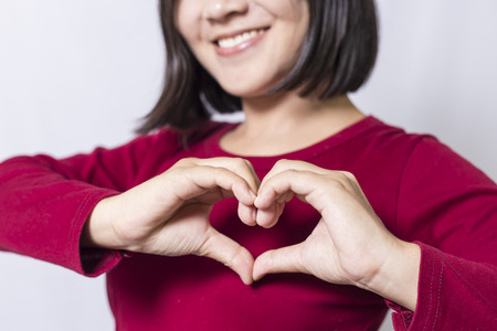 adult care: Woman show heart hands
