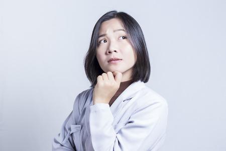 negative thinking: Businesswoman Thinking: Negative Thinking