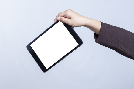 by cu: Businesswoman with Blank Tablet for Advertising: CU Hand Holding Tablet