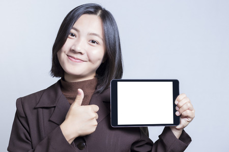 blank tablet: Businesswoman with Blank Tablet for Advertising