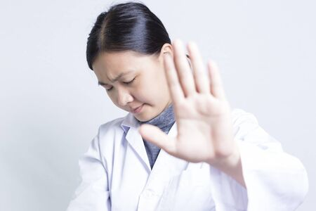 insulting: Woman Sciencetist: Stop Symbol Stock Photo