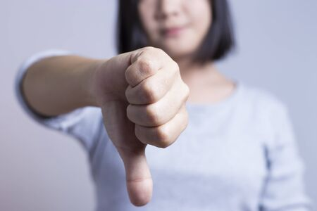 no person: Woman show gesture not ok abstract Stock Photo