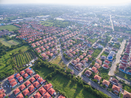 fall trees: Aerial shot of housing Stock Photo