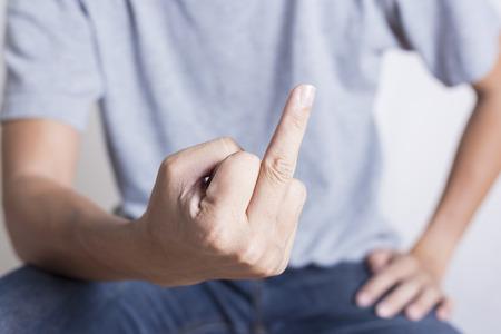 middle finger: Bad man is showing middle finger