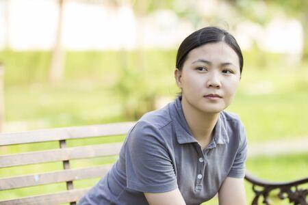 Woman so Serious at Park