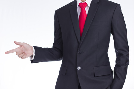 Businessman Pointing or Touching on Isolated White Background Stock Photo