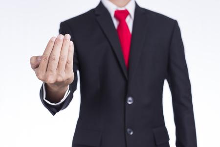 invitando: Mostrar mano del hombre de negocios del símbolo de invitación