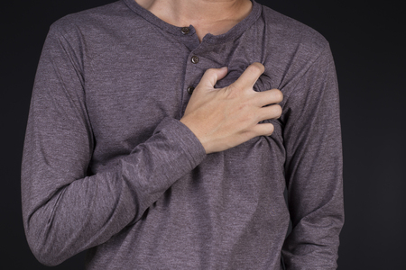chest pain: Man: Chest Pain Stock Photo
